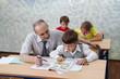 Elementary school. Teacher and children