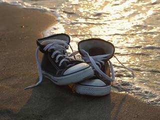 Sneakers near the sea