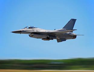 Modern jetfighter F-16 at high speed (motion blur)
