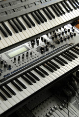 Electronic Keyboards on a rack