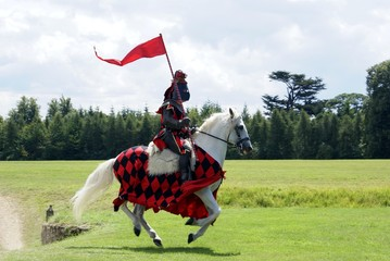 Knight riding a white horse holding flag