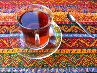 Turkish tea, served on traditional turkish tablecloth