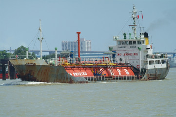 LPG ship on a river