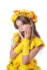 Portrait d'un enfant déguisé en pricesse