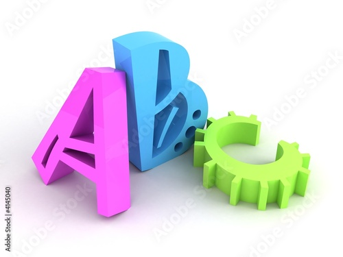 three coloured letters on white background