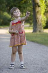 Girl appreciating the stone she holding