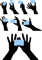 vector hands with cards
