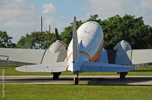 Classic DC-3 propeller airplane rear view