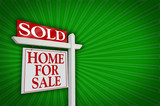 Sold Home For Sale Sign on Burst poster