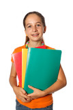 Etudiante avec cahiers de classe poster