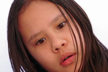 misunderstanding in young girl close up