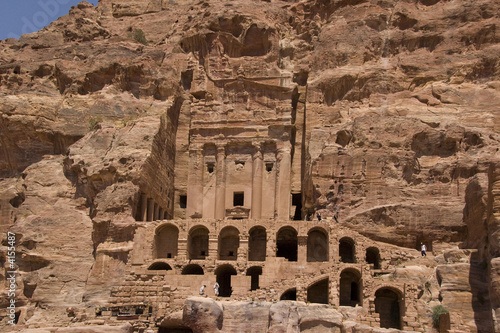 Ruins of ancient building carved into mountain, Petra, Jordan