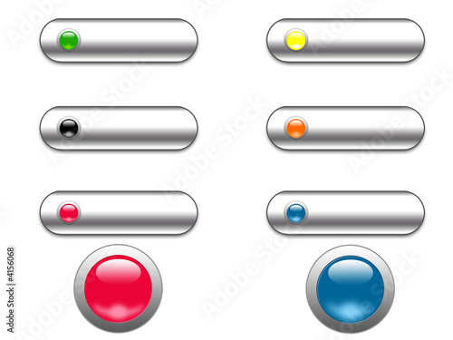 Chrome and glass web buttons - digital illustration