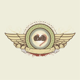 Vector illustration on a gambling subject. hearts suit emblem  poster