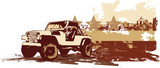 vector   illustration of stilyzed vintage military vehicle  poster