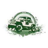 Grunge stilyzed vintage military vehicle. poster