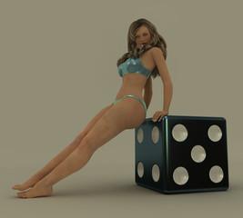 Take a gamble. Virtual model sitting on a large titanium dice.