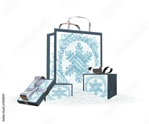 Snowy gift bags and boxes