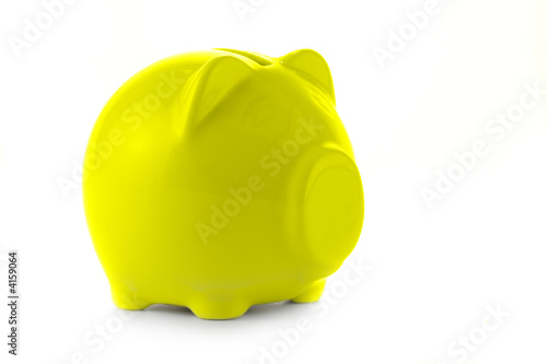 Yellow piggy bank isolated