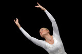 Ballerina dancing with white attire poster