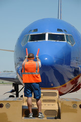 Southwest airlines airplane arriving at the gate