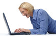 Attractive woman excited with a laptop