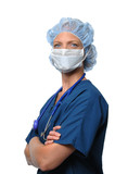 Surgical female wearing mask poster