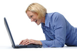 Attractive woman excited with a laptop poster