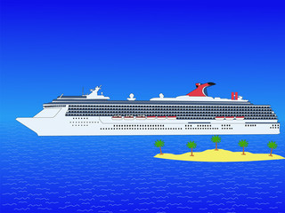 cruise ship with island