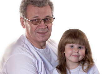 grandfather and granddaughter in white t-shirts