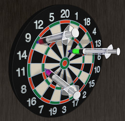 Dart board with needles