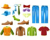 Men clothes icon set poster