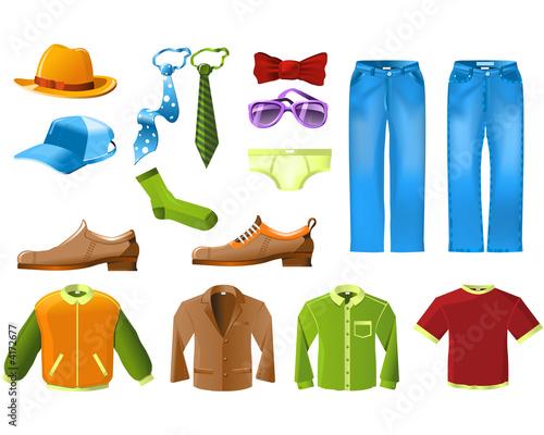 Men clothes icon set