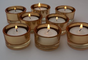 lit candles. Lighted candles