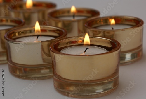 Lighted candles.