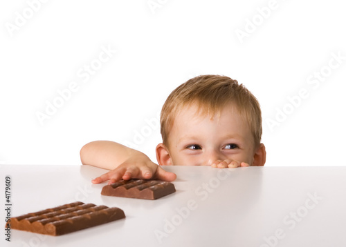 The child and a chocolate