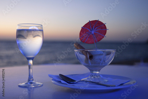 ice cream and glass of water, corsica,