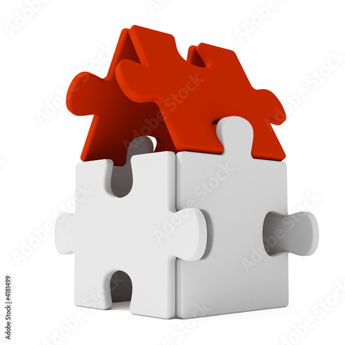 Puzzle home with red roof