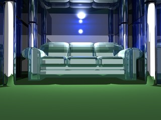 White 3D Sofa with Green Carpet