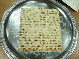 Matzo on silver plate