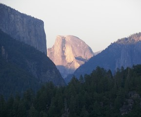 distant half dome at dusk