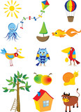 Vector set of cartoon characters and objects poster