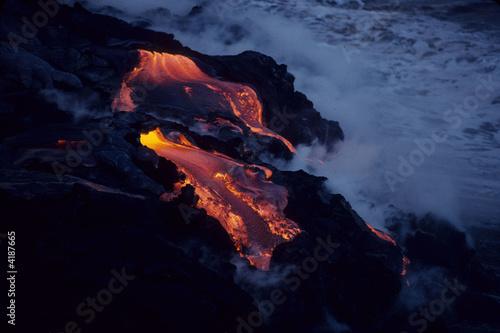 Lava cascade into the sea, Kilauea Volcano, Hawaii Island