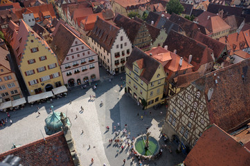 Market place in medieval town Rothenburg ob der Tauber, Germany