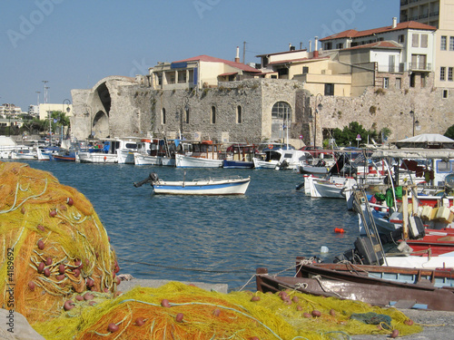 Heraklion port and harbour in island of Crete, Greece