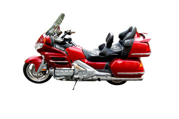Big red chopperstyle motorcycle