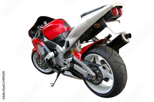 Leinwandbild Motiv Motorcycle red viewed from back
