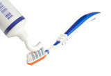 Toothpaste being applied on a toothbrush  poster