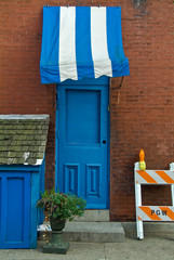 The Blue Door and Awning