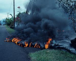 Lava burns roadway, Big Island of Hawaii